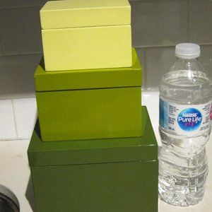Crate&Barrel Acrylic Green Boxes